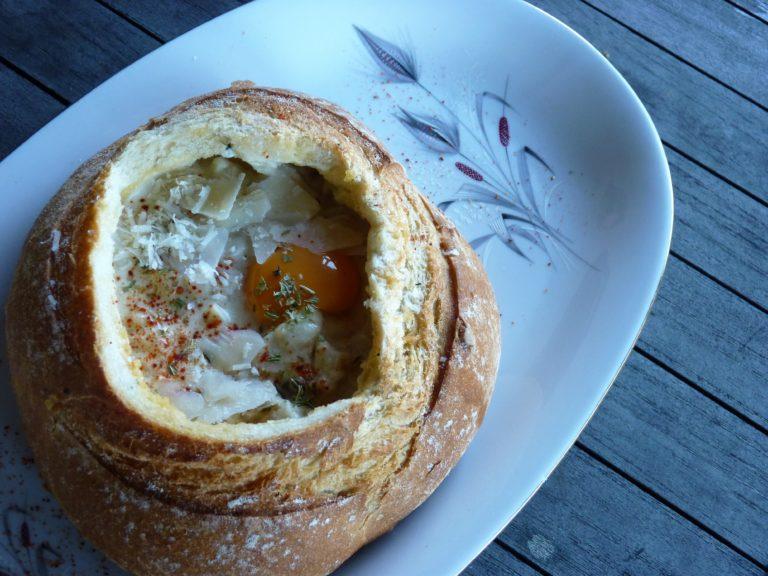 Soupe de pain, façon pain surprise